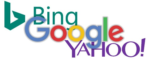 Logos der führenden Suchmaschinen der Welt