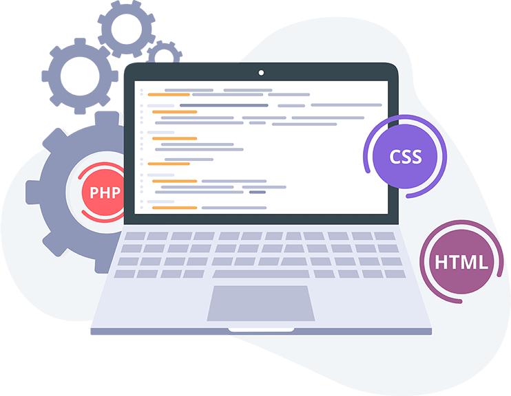 Webseiten erstellen und entwickeln lassen. Notebook mit Codes und Bausteinen für die Erstellung von Webseite